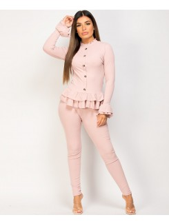 Pink Gold Button Frill Ribbed Loungewear Set
