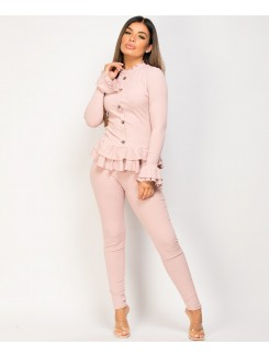 Pink-Frill-Gold-Button-Ribbed-Loungewear-Set-3