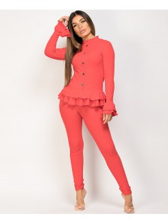 Red Gold Button Frill Ribbed Loungewear Set