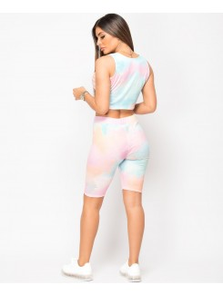 Pink Tie Dye Ribbed Vest & Cycling Short Co Ord Set