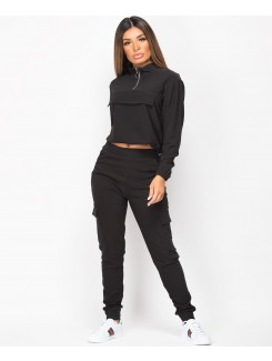 Black-Combat-Pocket-Half-Zip-Drawstring-Loungewear-Tracksuit-2