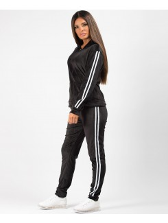 Black-Velvet-Velour-Side-Stripe-Tracksuit-Loungewear-Set-1