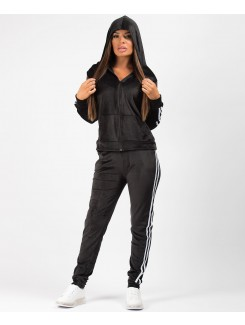 Black-Velvet-Velour-Side-Stripe-Tracksuit-Loungewear-Set-2