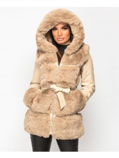 Beige-3-4-PU-PVC-Faux-Fur-Hem-Hooded-Jacket-1