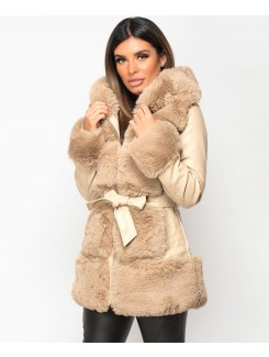 Beige Faux Fur Trim Hooded PU PVC Belted Coat