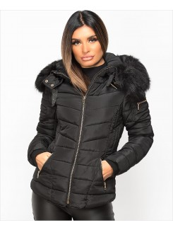 Faux Fur Hooded Piping Quilted Puffer Jacket