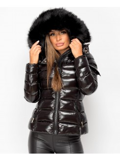 Black-Shiny-Wet-Look-Padded-Quillted-Faux-Fur-Hood-Toggle-Back-Puffer-Jacket-1
