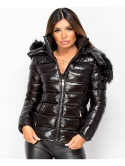 Black Faux Fur Hood Toggle Back Shiny Wet Look Puffer Jacket
