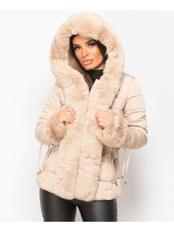 Beige-Faux-Fur-Trim-Padded-Quilted-Hooded-Puffer-Jacket-Coat-1