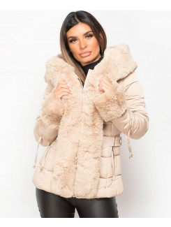 Beige Faux Fur Trim Hooded Side Buckle Puffer Jacket