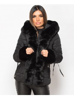Black Faux Fur Trim Hooded Side Buckle Puffer Jacket