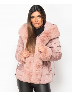 Pink Faux Fur Trim Hooded Side Buckle Puffer Jacket