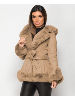 Beige Faux Suede Fur Trim Hem Hooded Swing Jacket