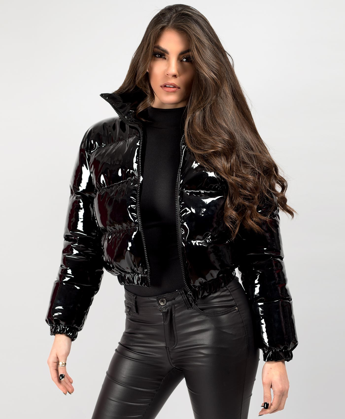Black-PU-Vinyl-High-Shine-Cropped-Puffer-Jacket-1