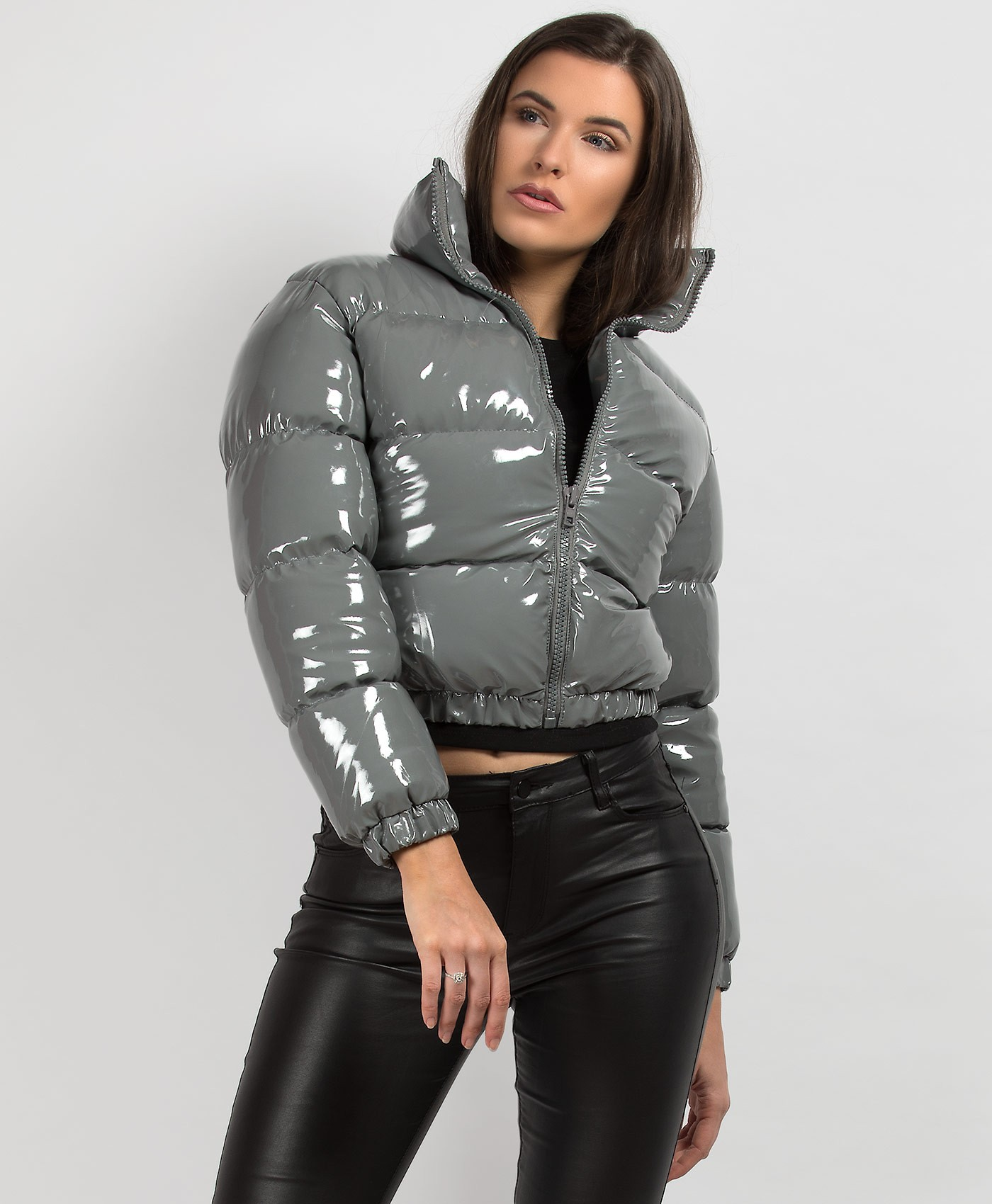 Grey-PU-Vinyl-High-Shine-Cropped-Puffer-Jacket-3