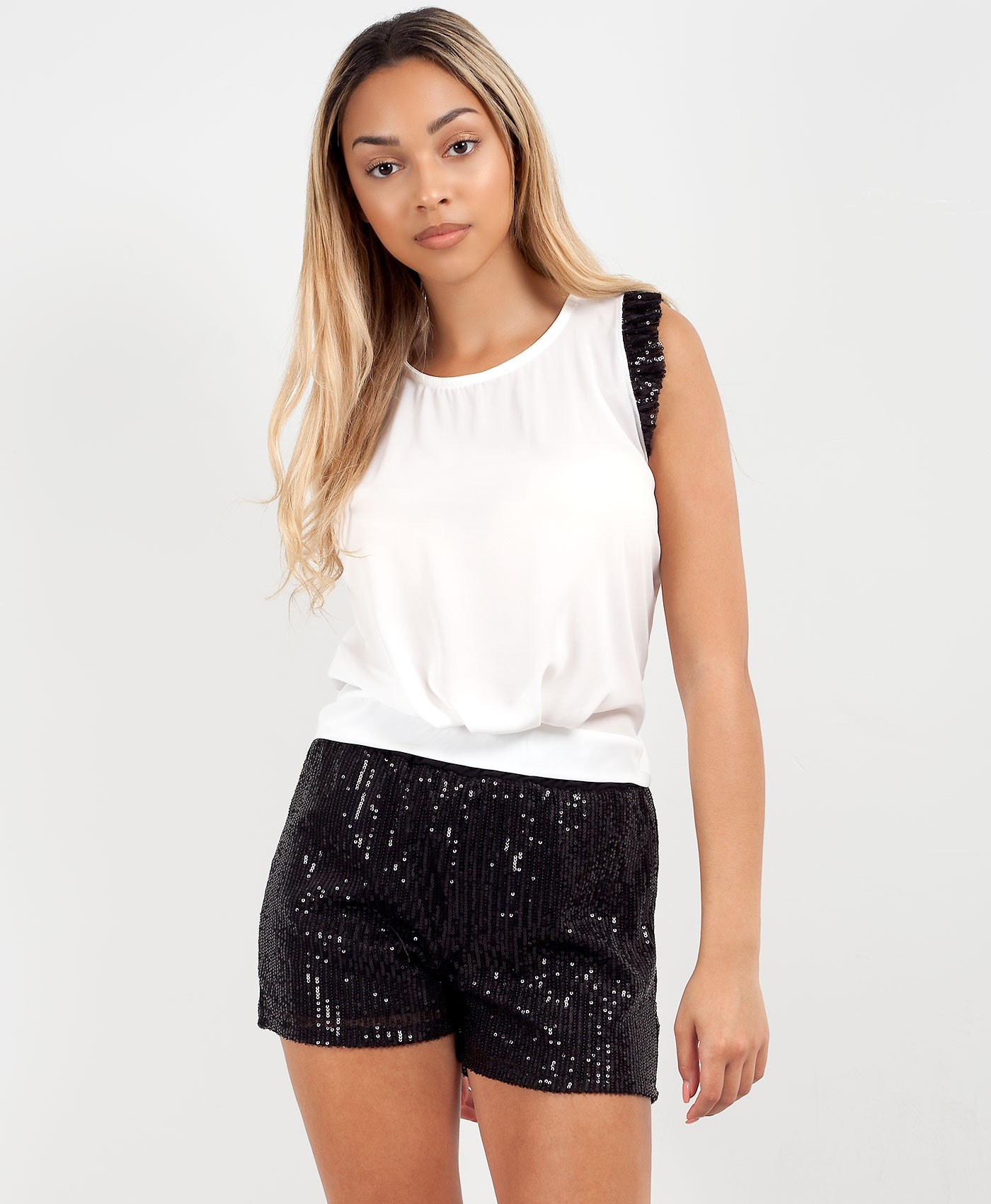 Black-Sequin-Shorts-&-Frill-Sleeve-Vest-Co-Ord-Set-1