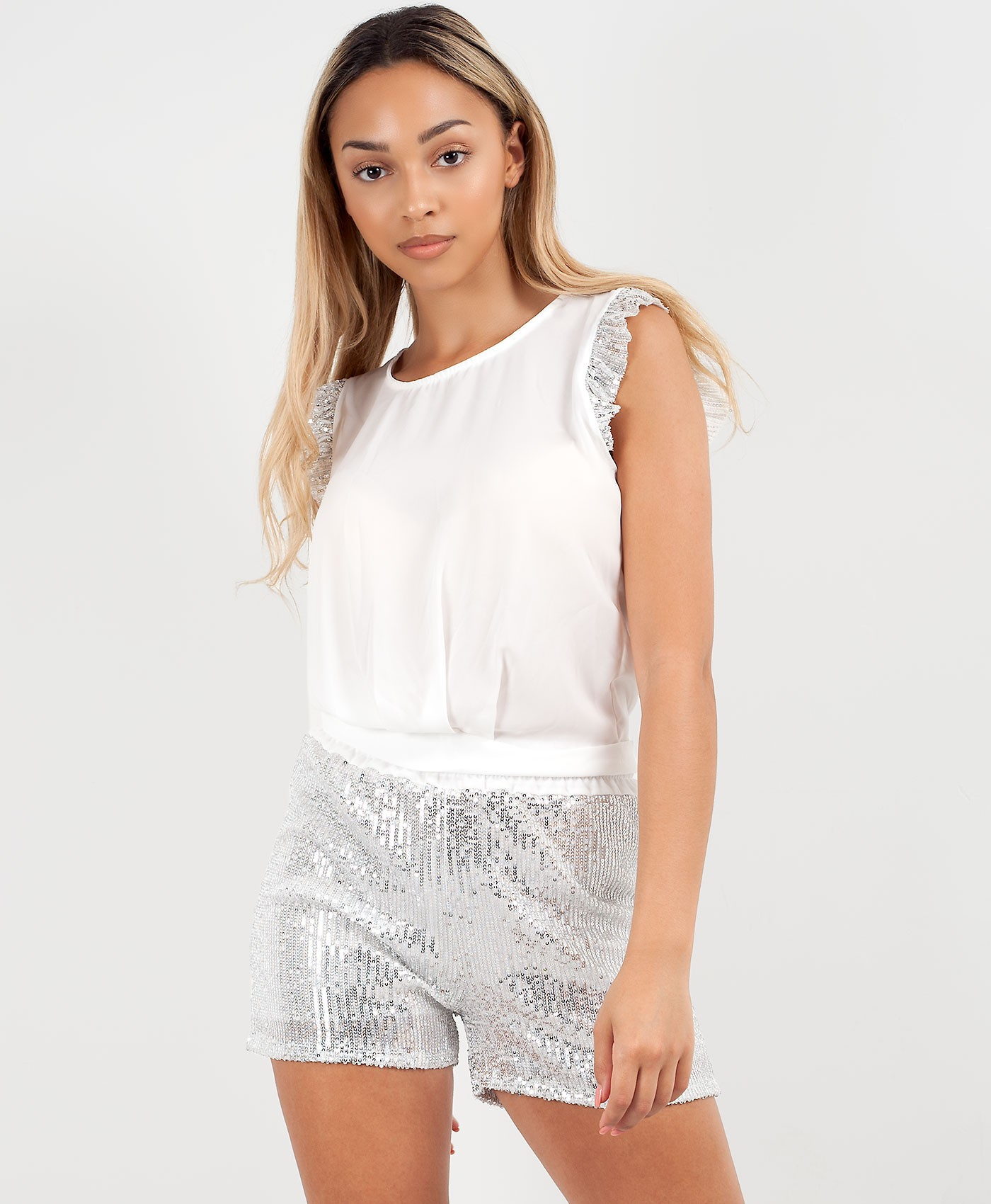 Silver Sequin Shorts & Frill Sleeve Blouse Co Ord Set