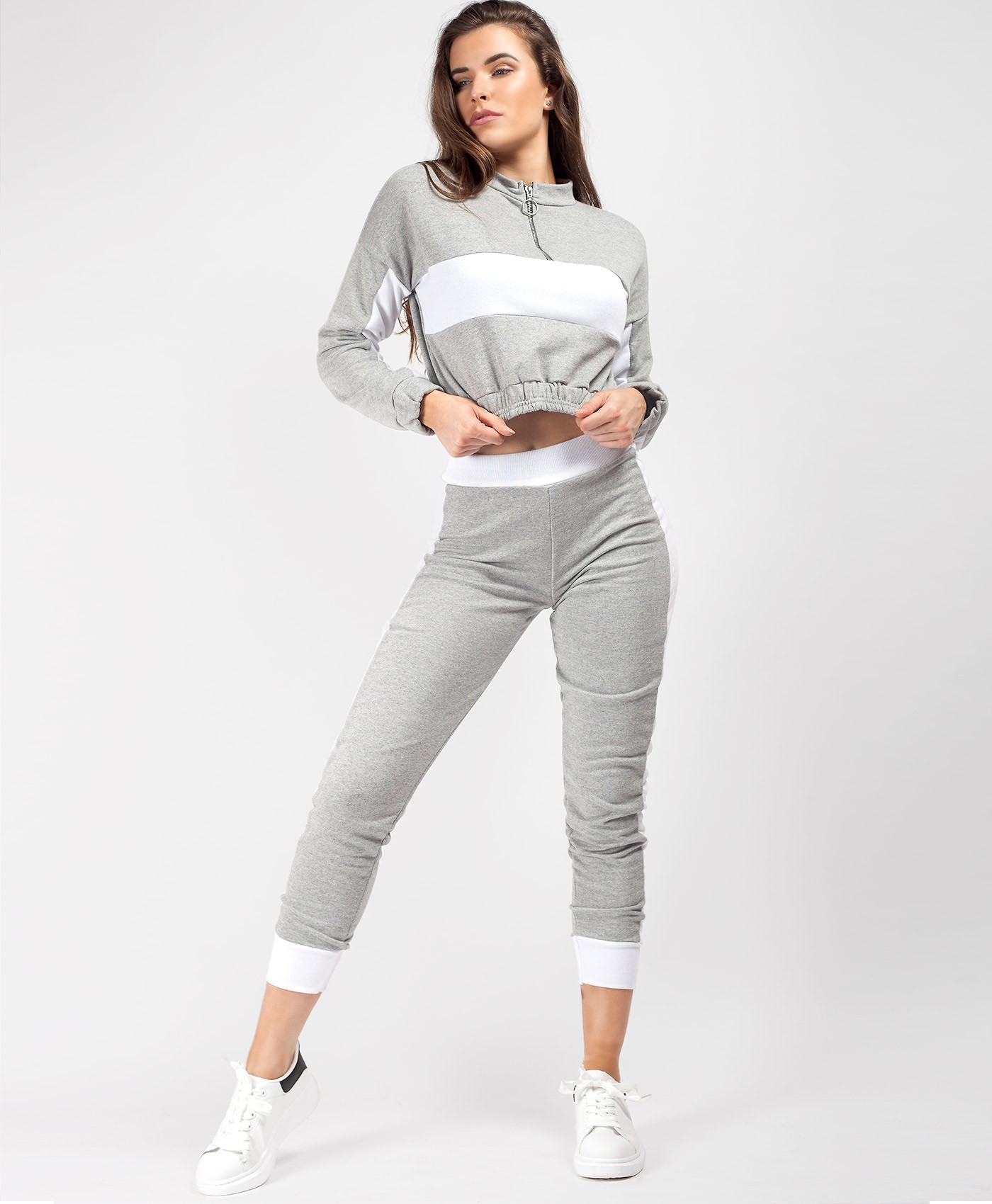Grey-Colour-Block-Half-Zip-Cropped-Sweatshirt-Skinny-Joggers-Loungewear-Set-1