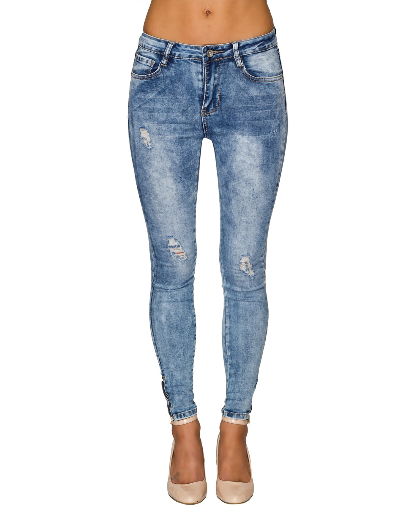 Ankle Zip Distressed Jeans