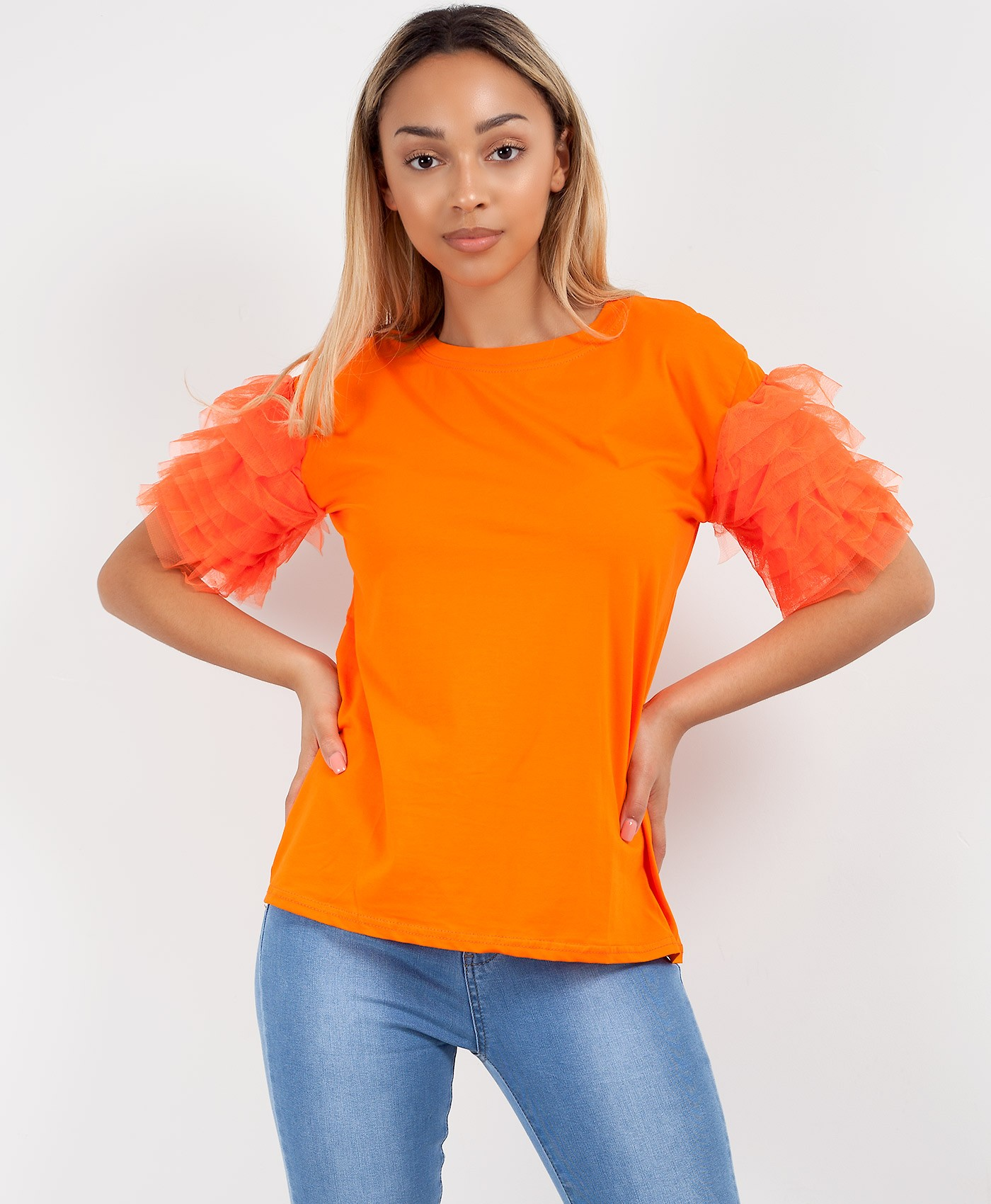 Orange Plain Tulle Frill Mesh Sleeve T-Shirt