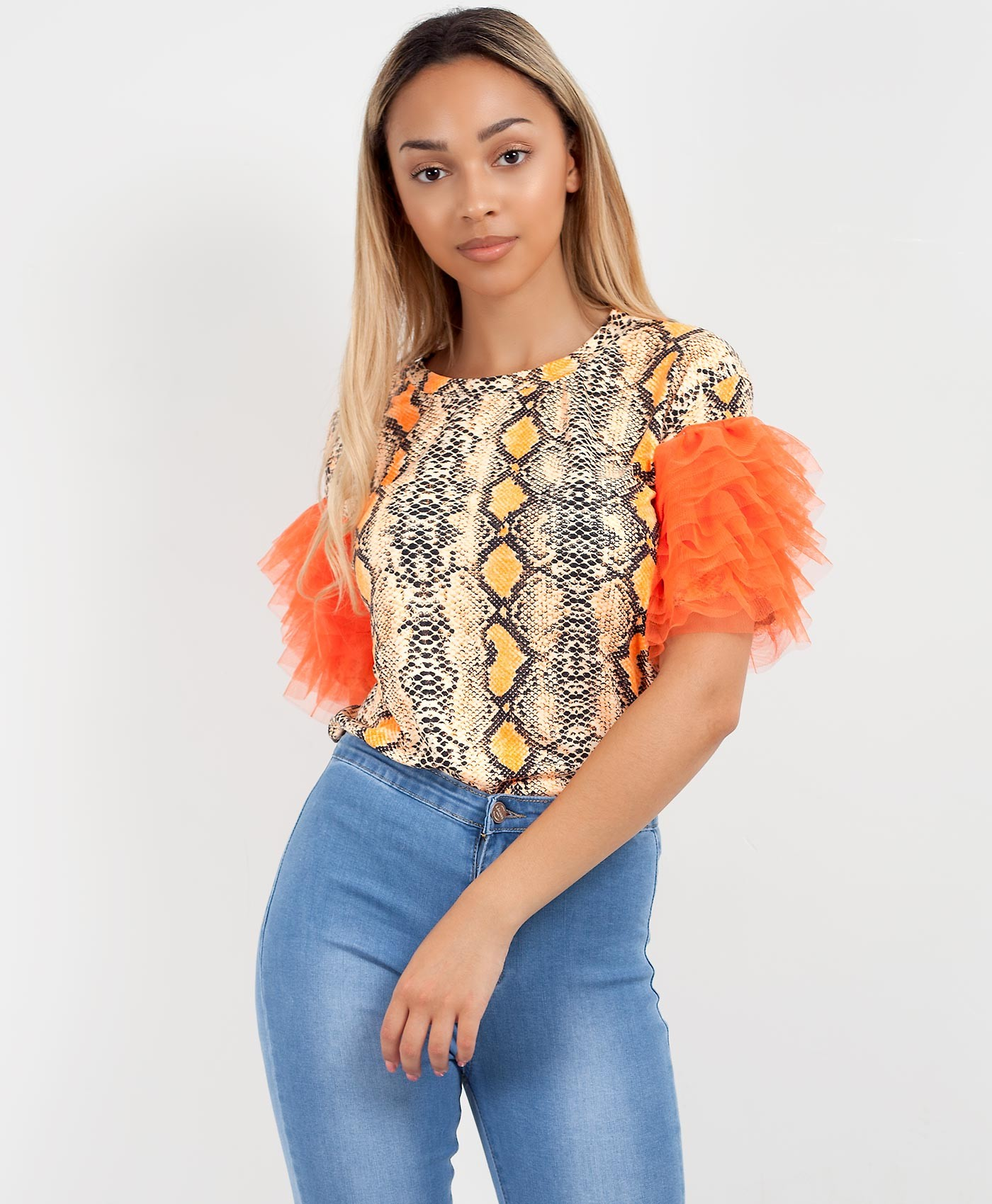 Orange Snake Print Tulle Frill Mesh Sleeve T-Shirt