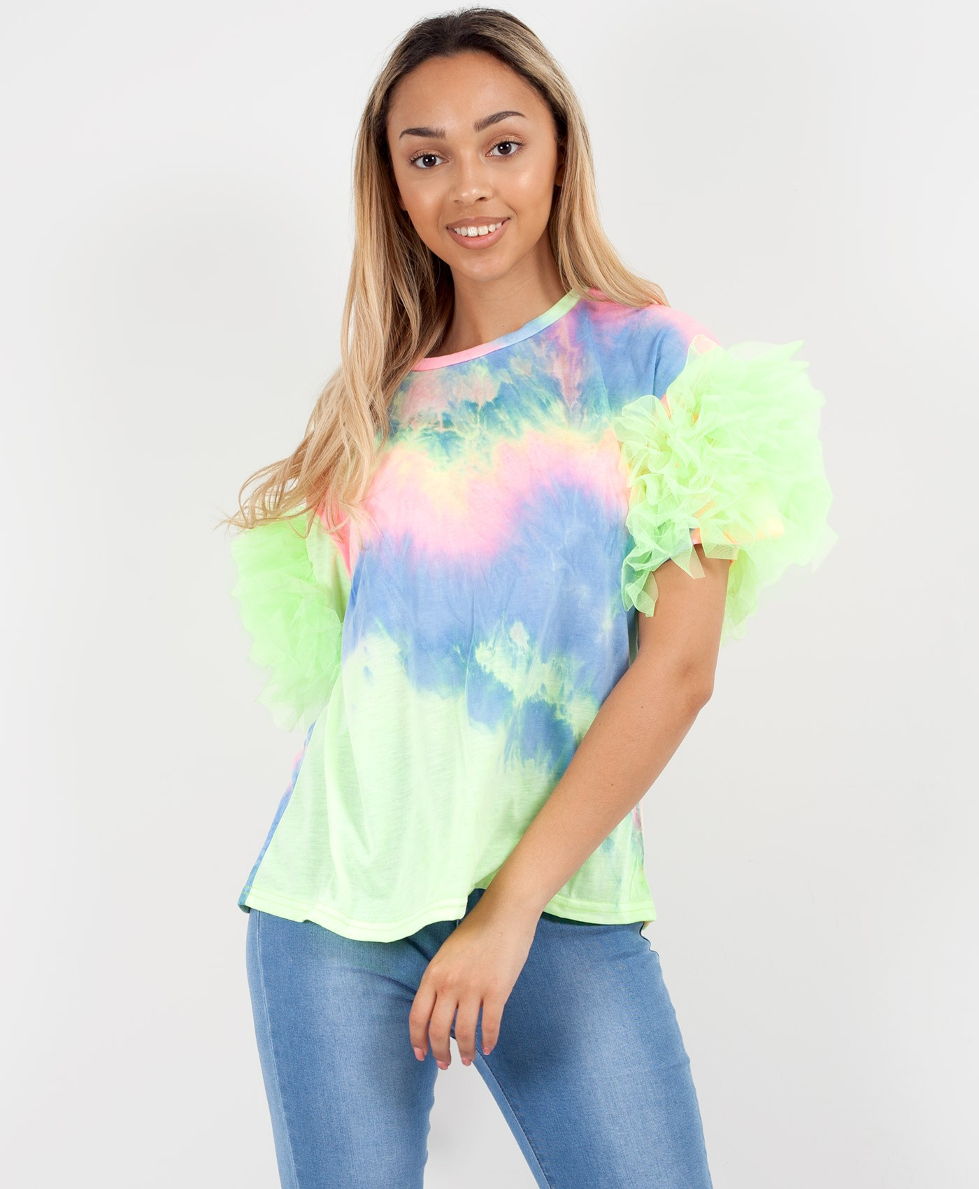 Neon Tie Dye Print Tulle Frill Mesh Sleeve T-Shirt