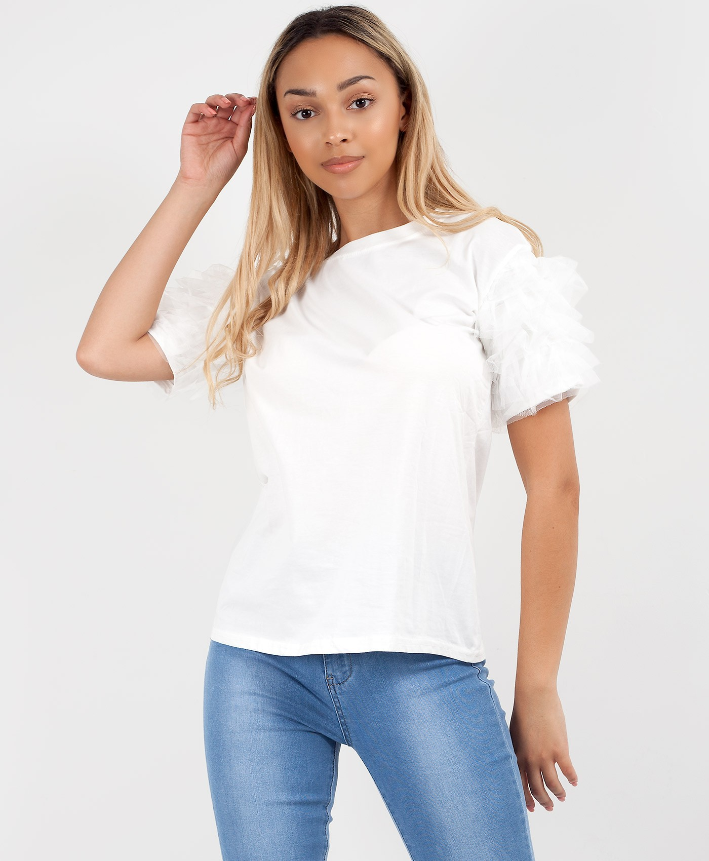 White Plain Tulle Frill Mesh Sleeve T-Shirt