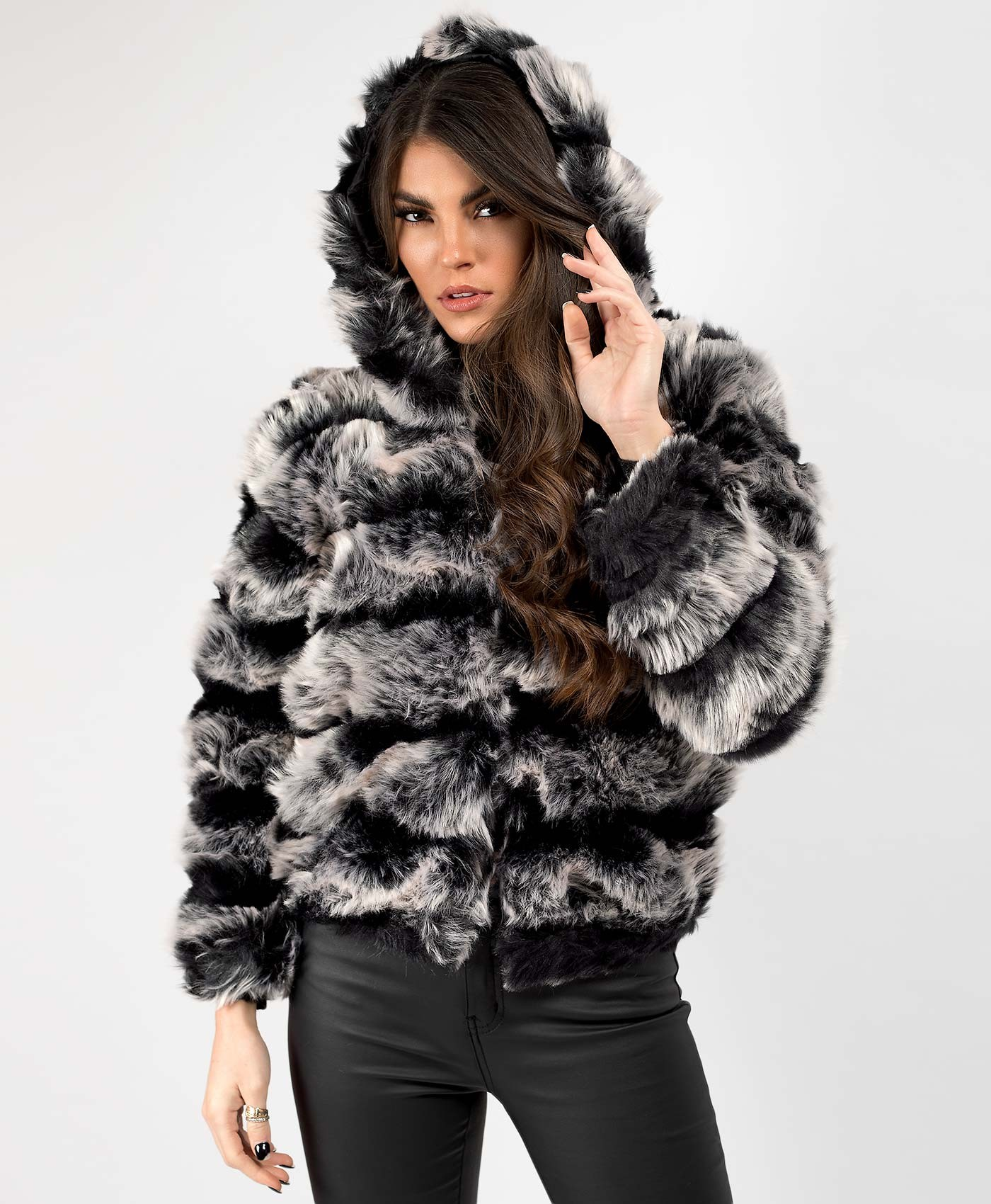 Black-Grey-Two-Tone-Hooded-Faux-Fur-Jacket-1