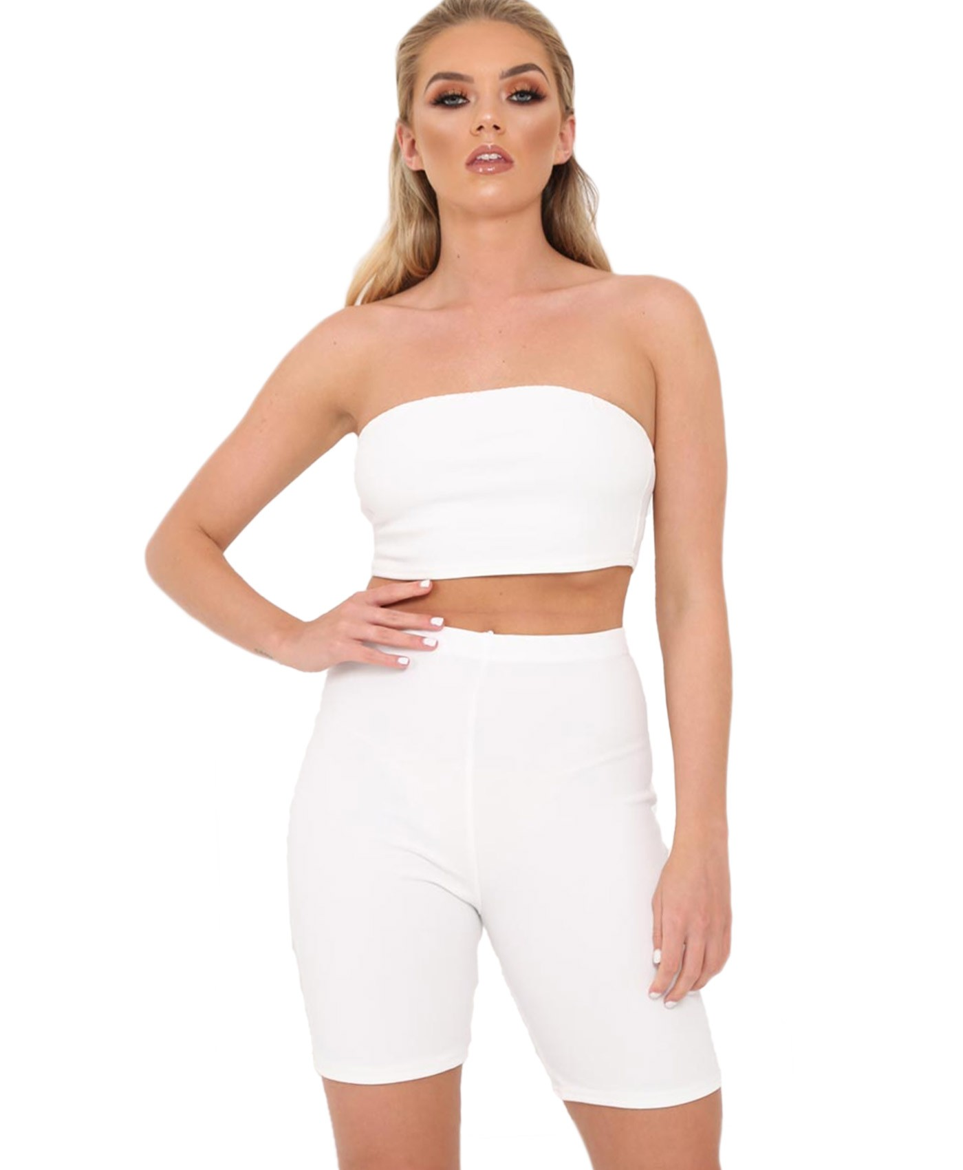 White-Cycling-Shorts-Boobtube-2-Peice-Co-Ord-Set-1