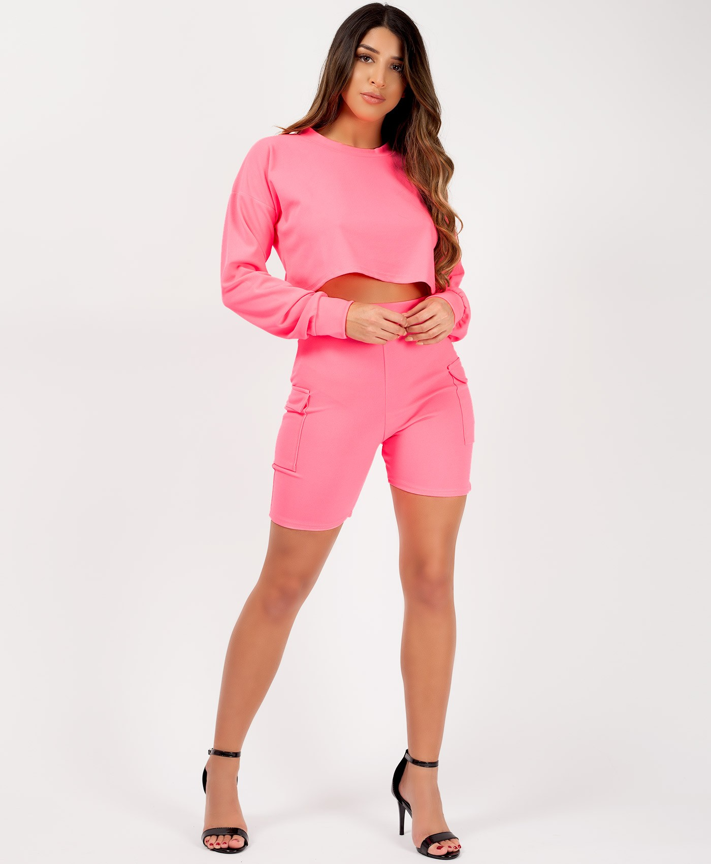 Neon-Pink-Long-Sleeve-Crop-Top-Cycling-Short-Co-Ord-Set-1