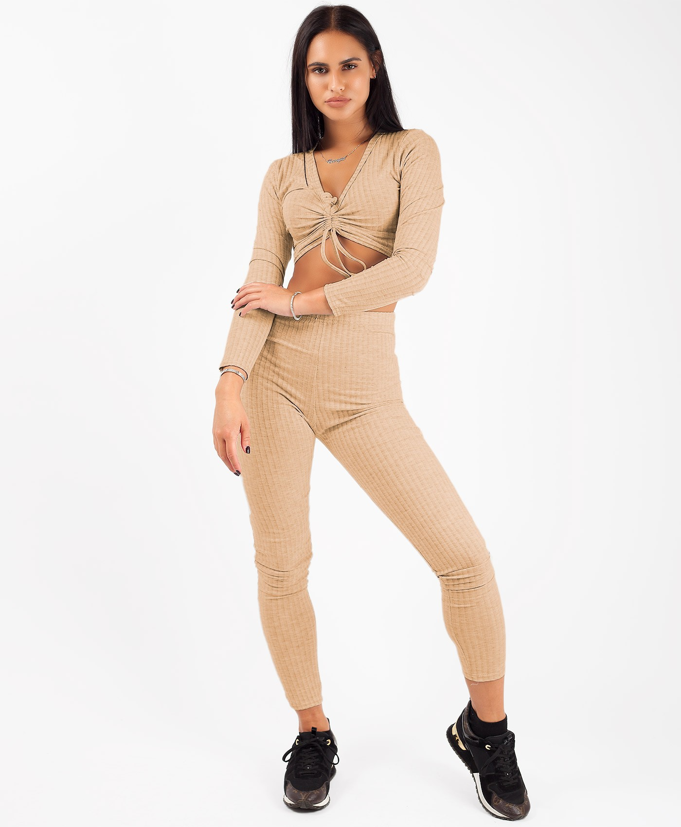 Camel-Ribbed-Tie-Front-Crop-Top-&-Trouser-Co-Ord-Loungewear-Set-2