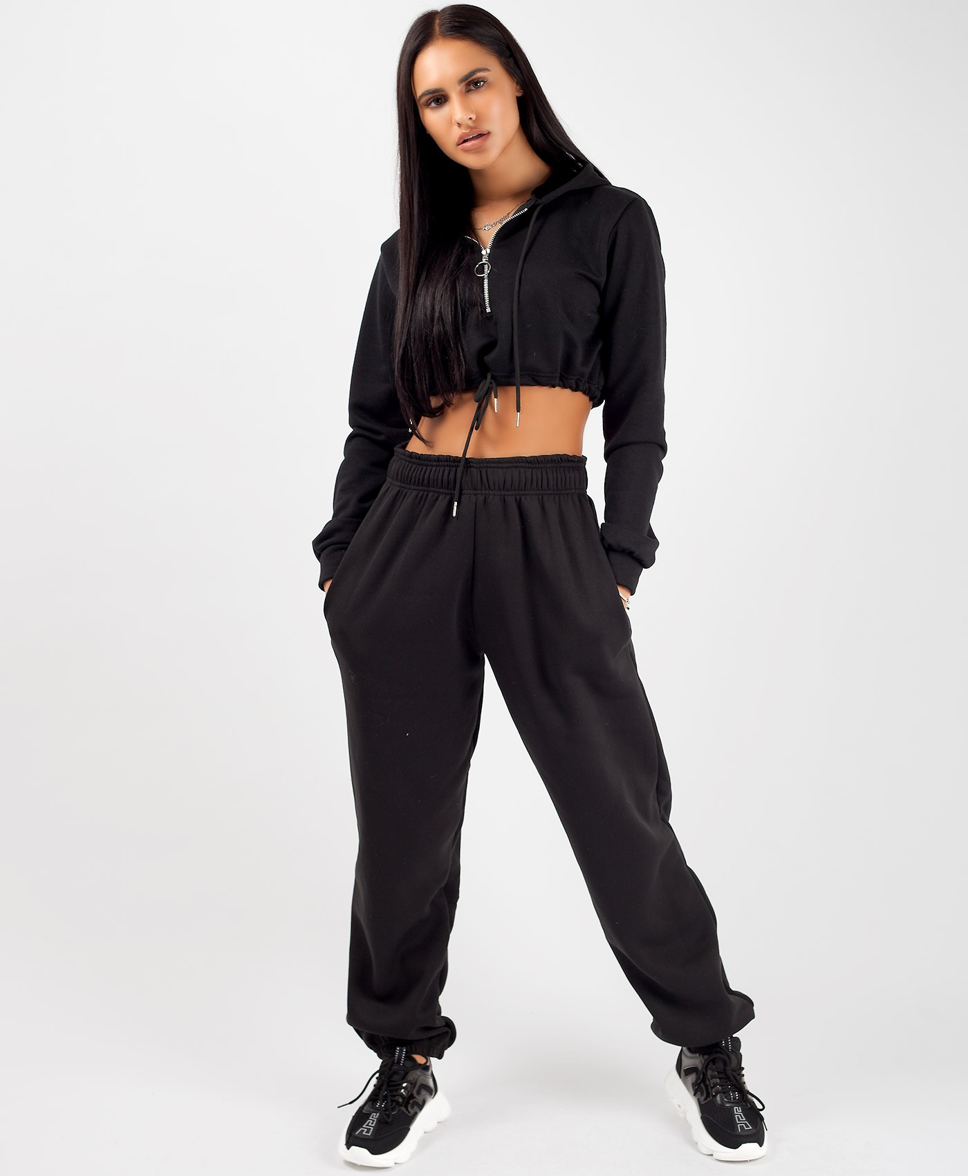 Black Oversized Fit Fleece Joggers