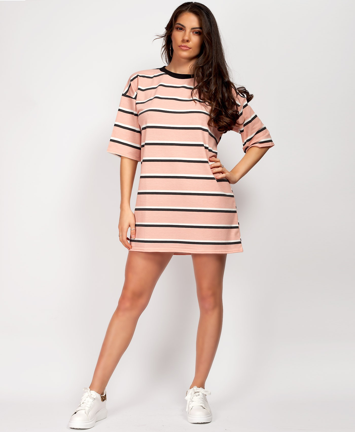 Pink-Oversized-Striped-Baggy-T-Shirt-1