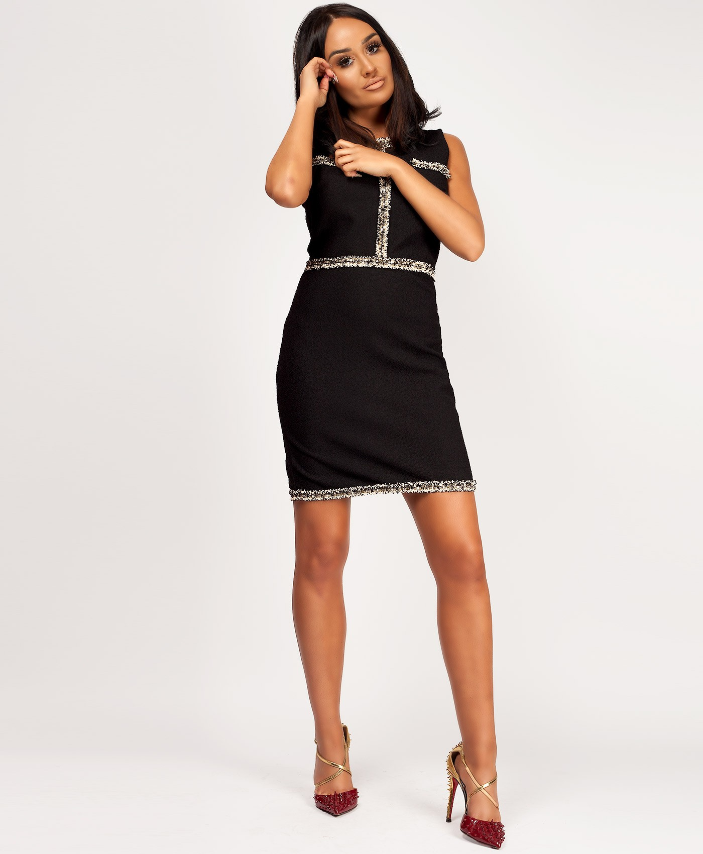 Black-Tweed-Boucle-Channel-Inspired-Bodycon-Dress-3