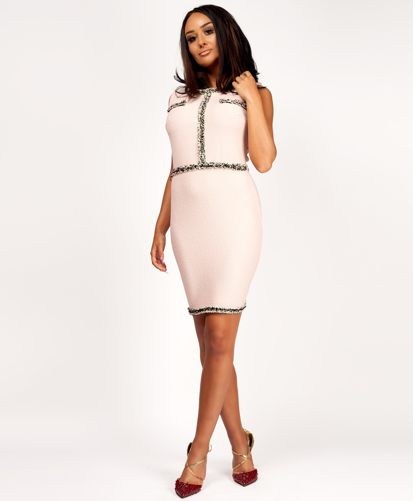 Pink-Tweed-Boucle-Channel-Inspired-Bodycon-Dress-1