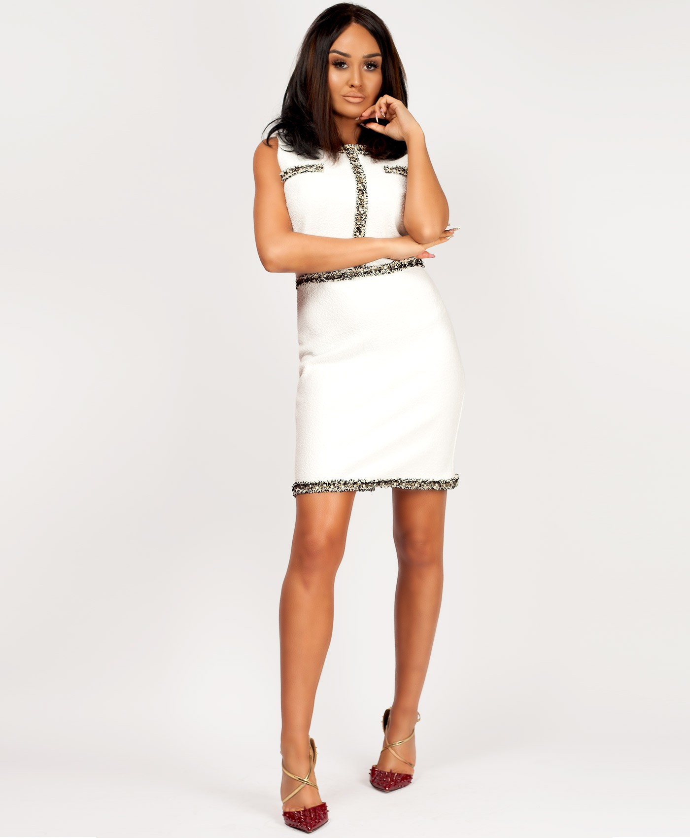 White-Tweed-Boucle-Channel-Inspired-Bodycon-Dress-2