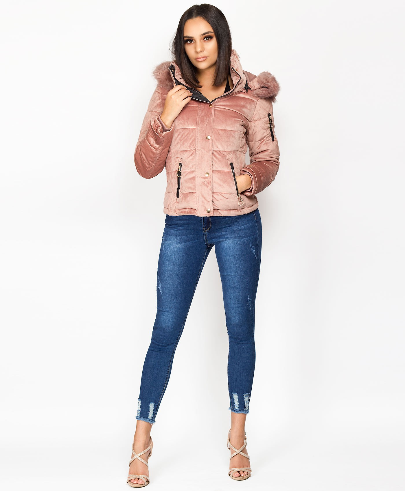 Pink-Velvet-Padded-Quilted-Fur-Hooded-Jacket-1