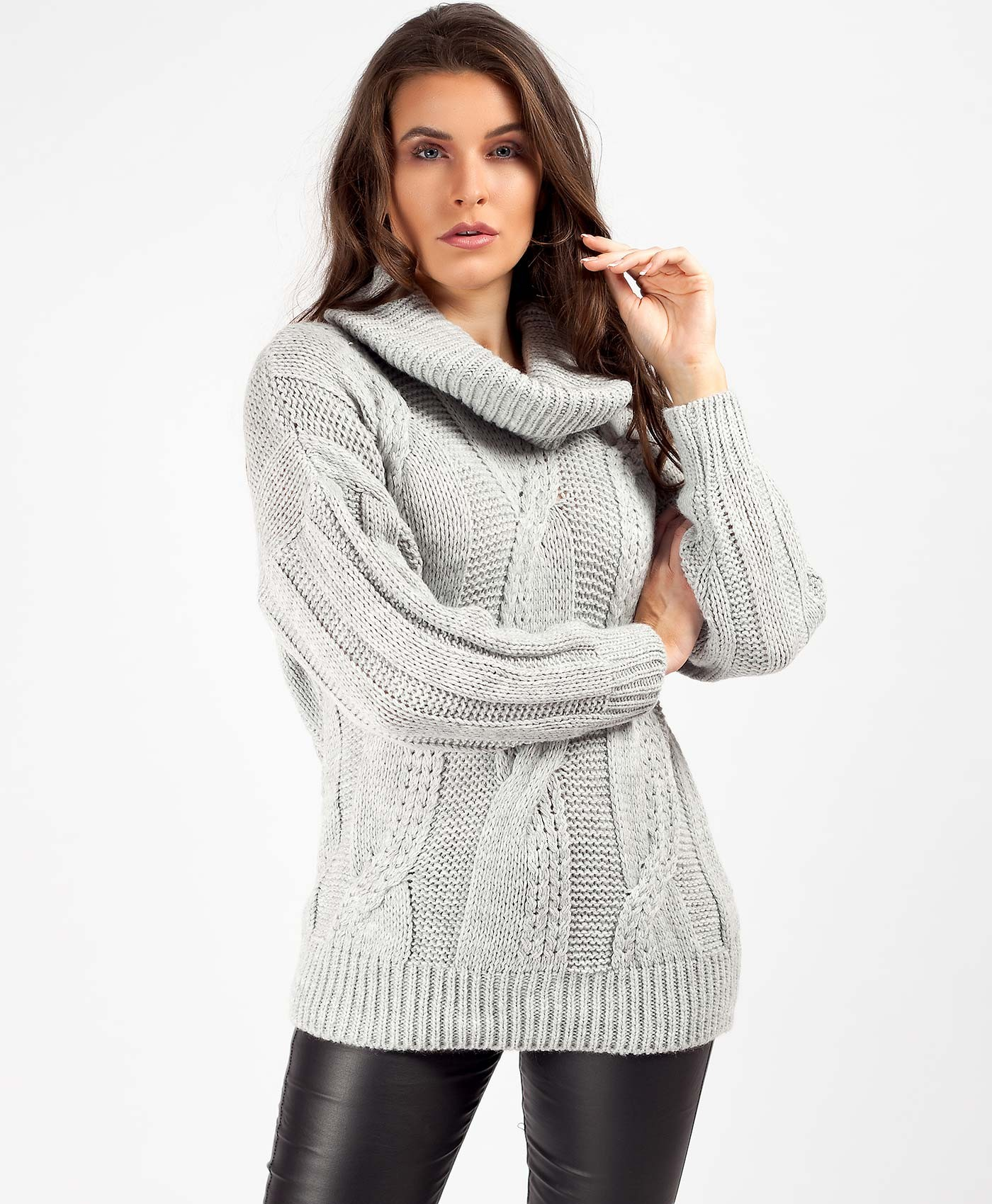 Grey High Neck Cable Knit Oversized Chunky Jumper