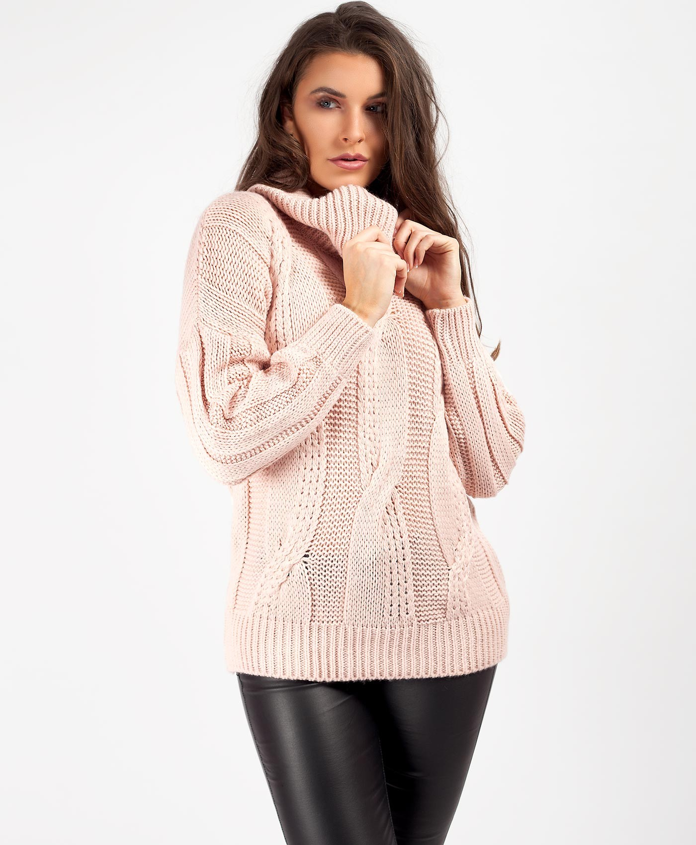 Pink High Neck Cable Knit Oversized Chunky Jumper