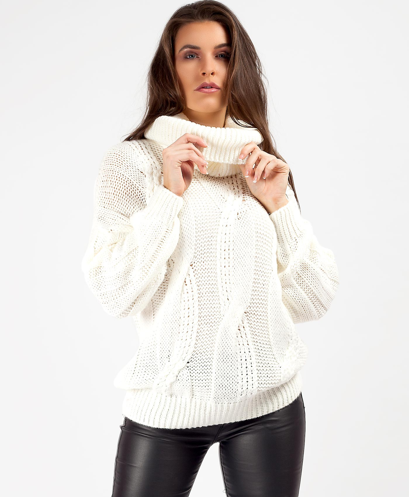White High Neck Cable Knit Oversized Chunky Jumper