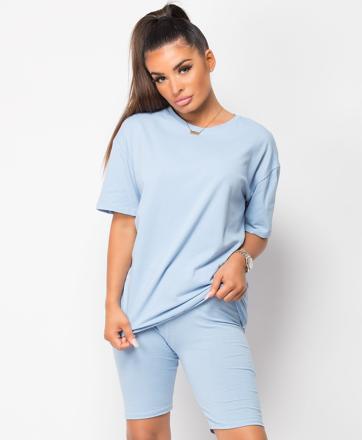 Sky Blue Plain Cycling Short & T-Shirt Co Ord Loungewear Set