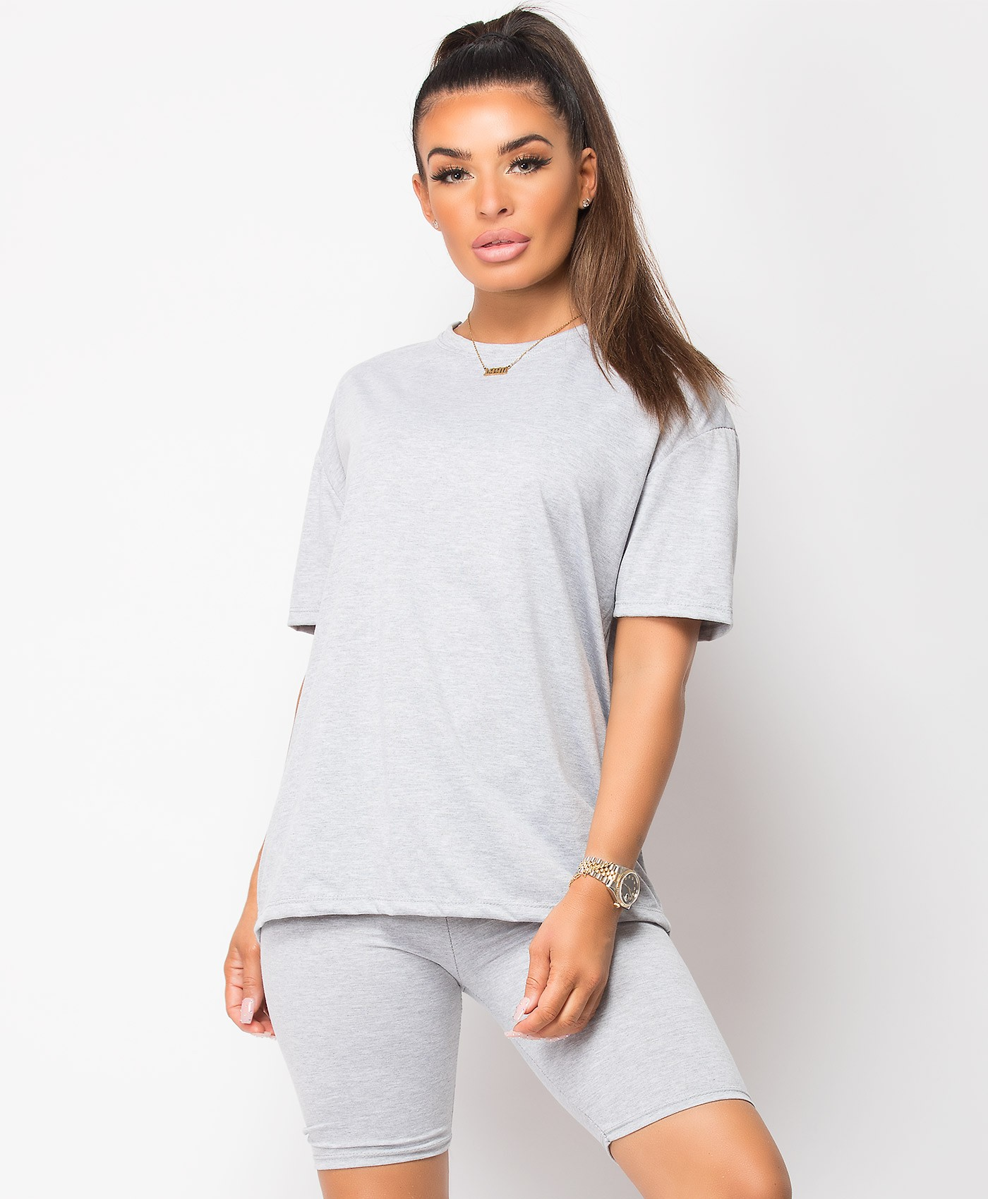 Grey Plain Cycling Short & T-Shirt Co Ord Loungewear Set