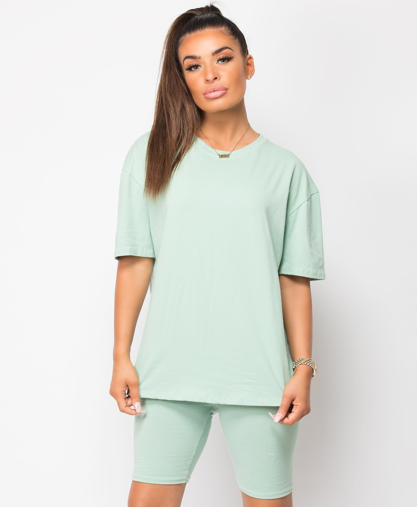 Mint Plain Cycling Short & T-Shirt Co Ord Loungewear Set