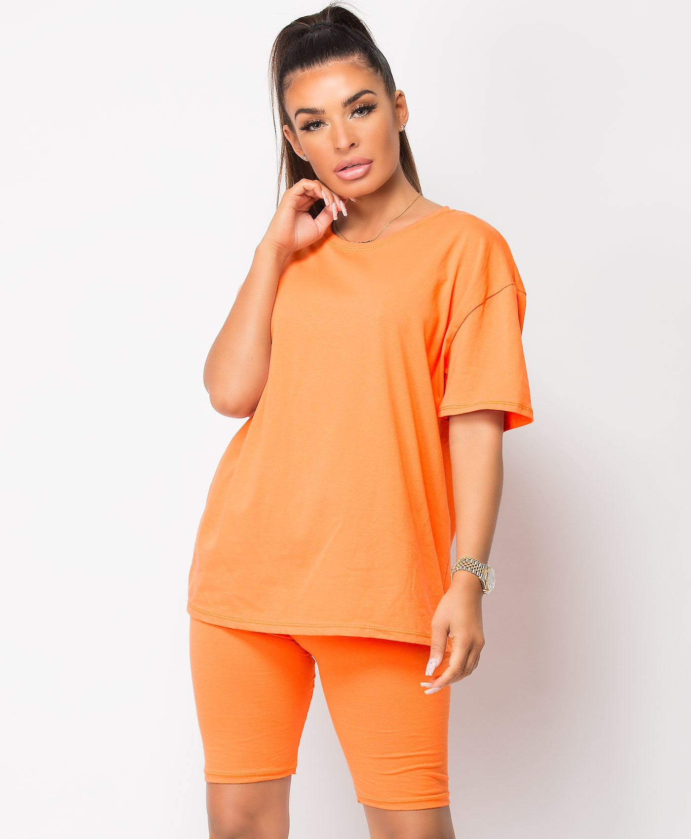 Orange Plain Cycling Short & T-Shirt Co Ord Loungewear Set