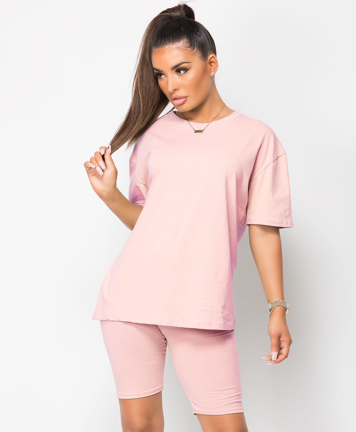 Pink Plain Cycling Short & T-Shirt Co Ord Loungewear Set