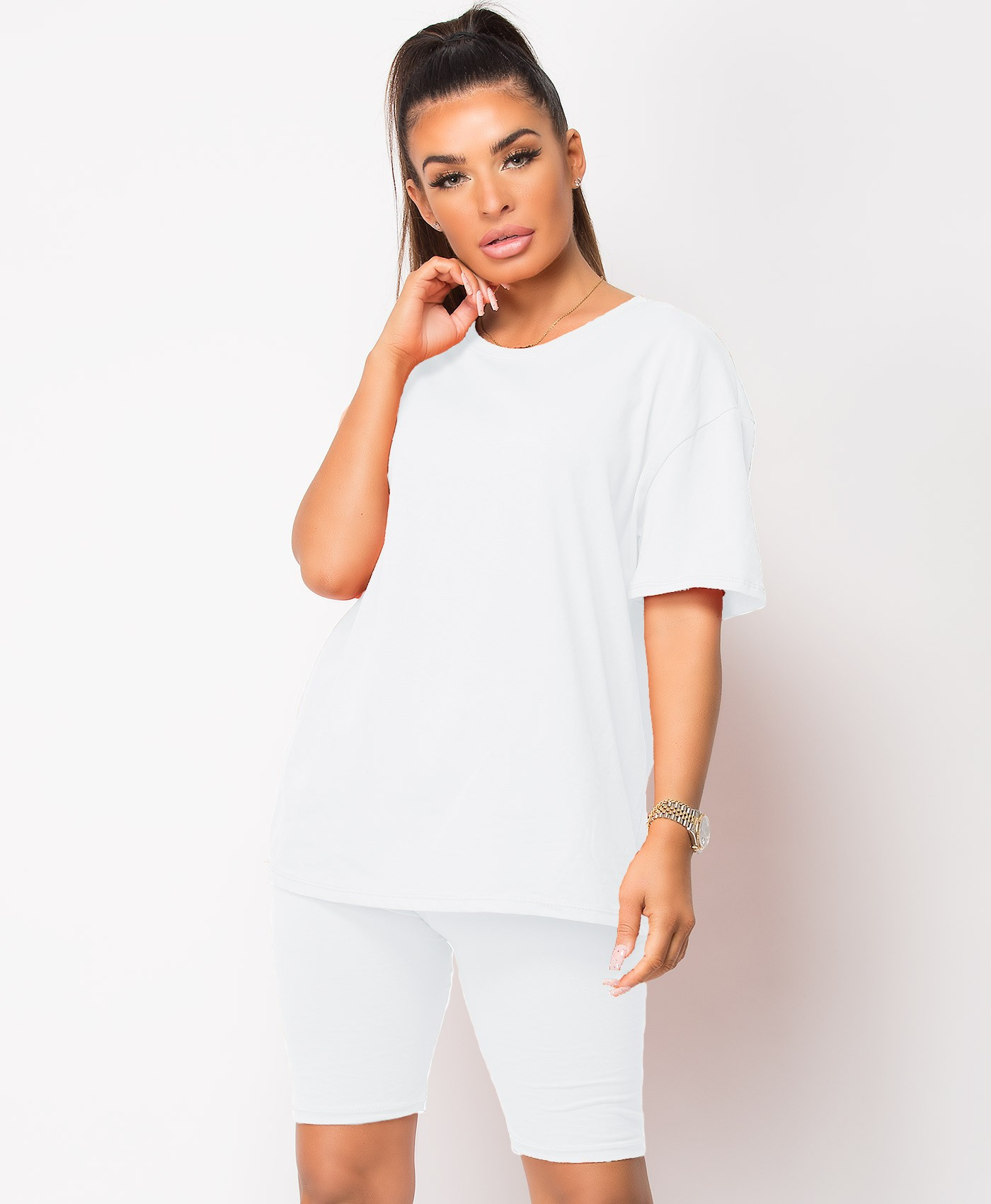 White Plain Cycling Short & T-Shirt Co Ord Loungewear Set