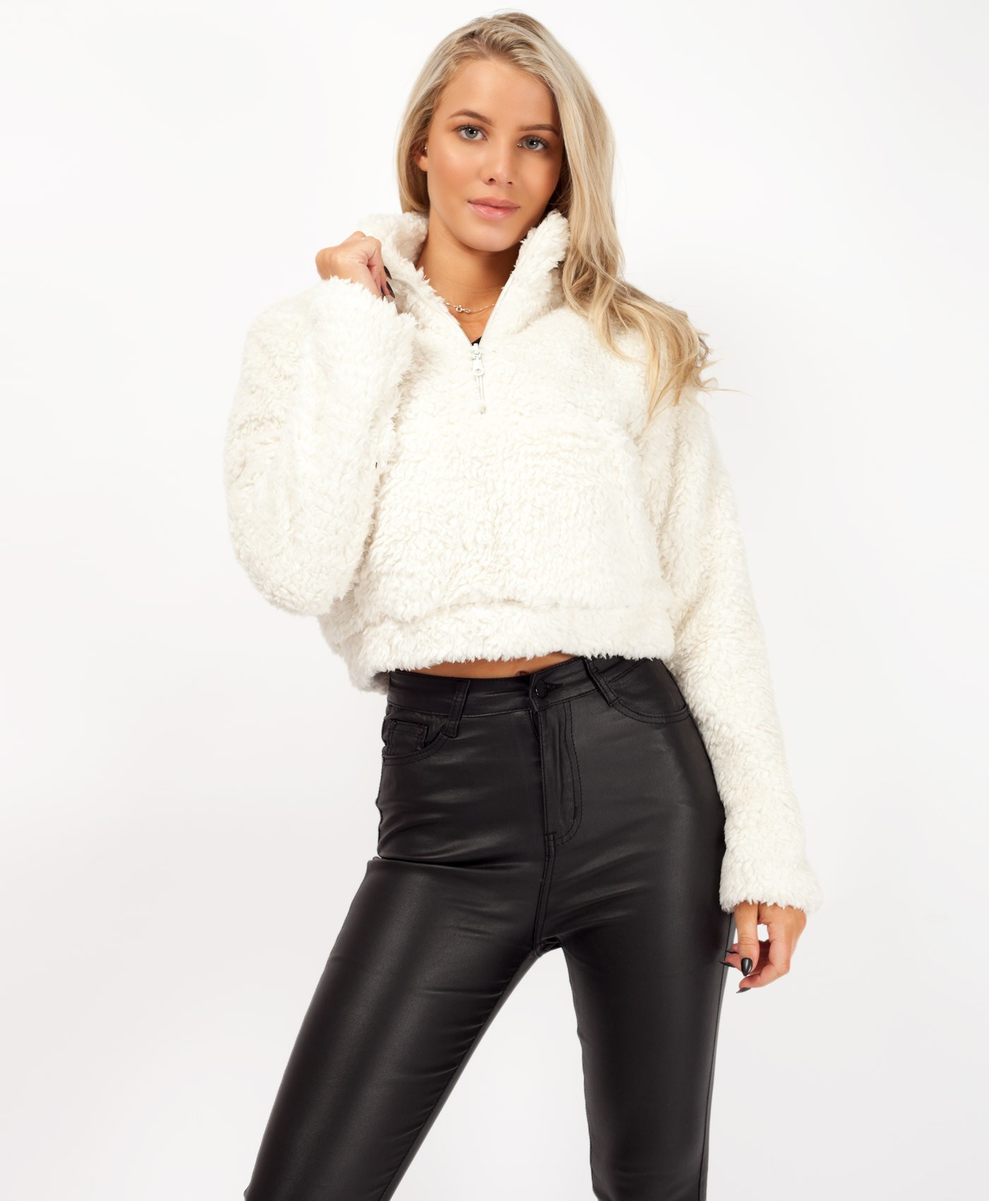 White Teddy Fur Borg Half Zip Trucker Jacket