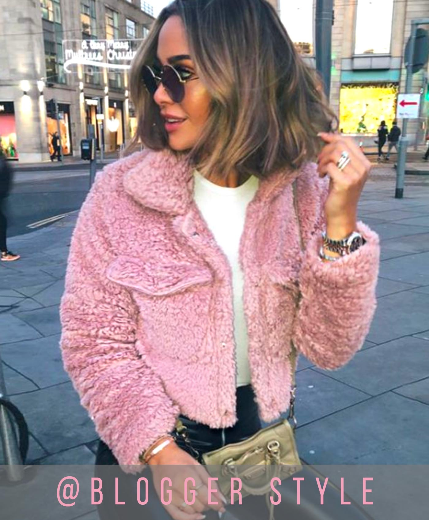 Pink Teddy Fur Cropped Borg Trucker Jacket