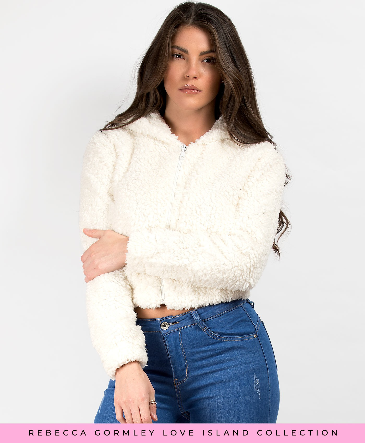 White Teddy Fur Cropped Borg Hooded Jacket