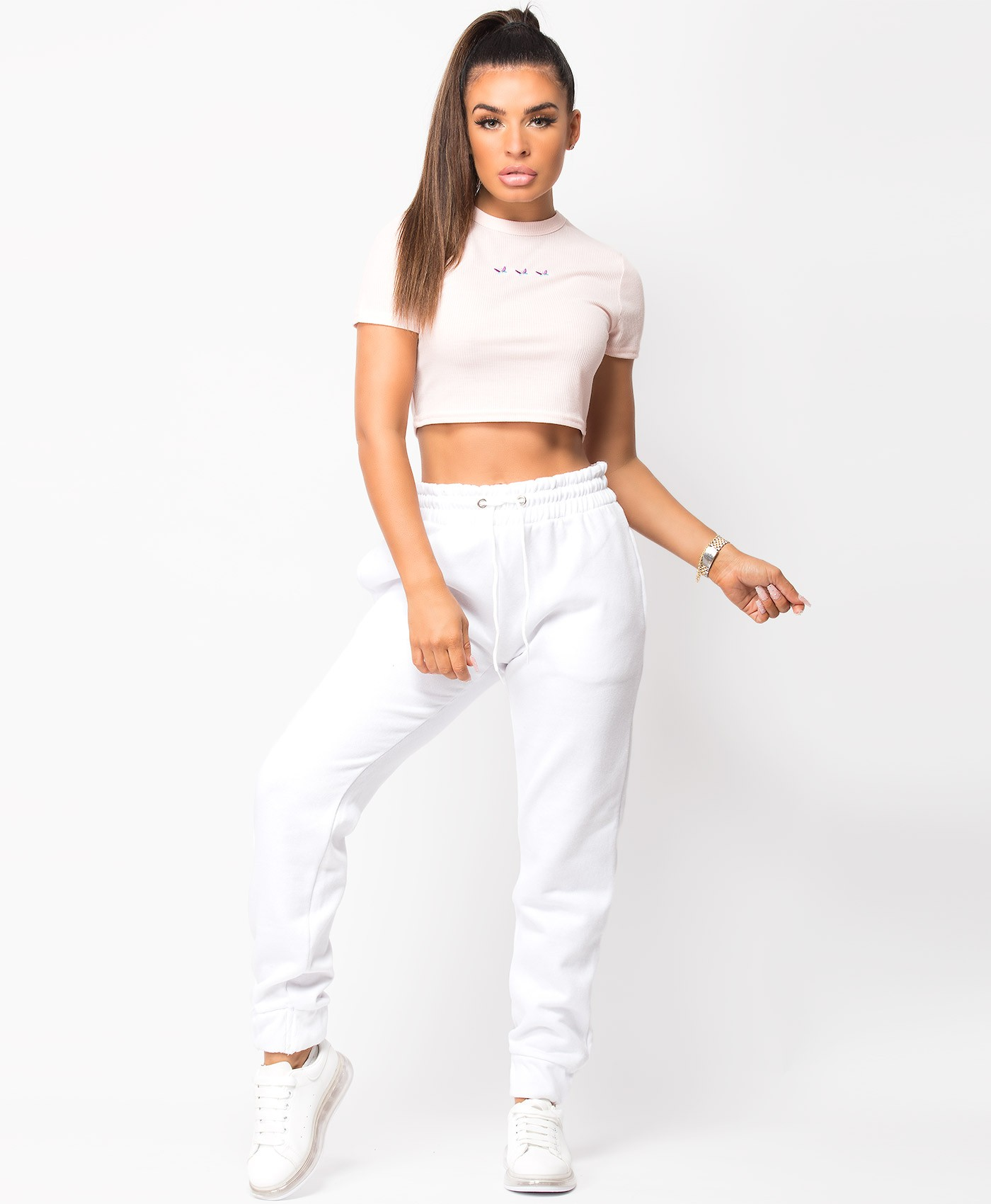 White Fleece Oversized Cuffed Drawstring Joggers